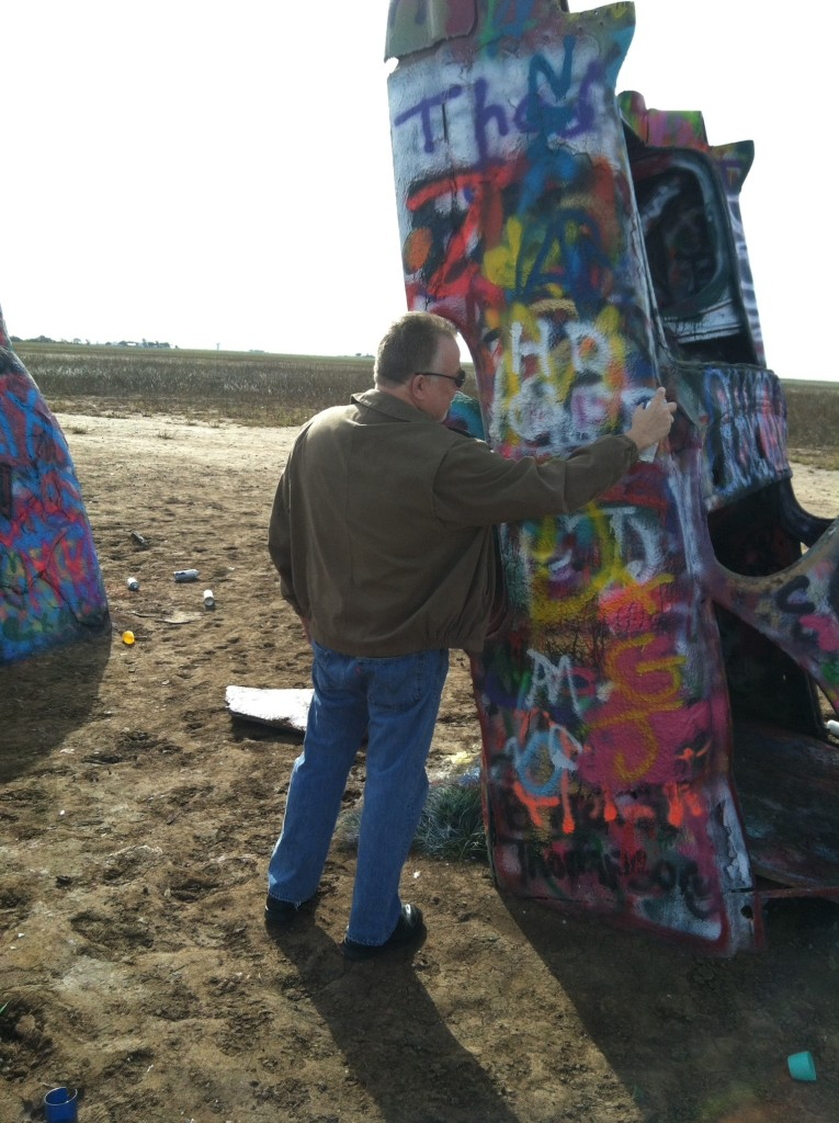 Leaving my Mark at the Cadillac Ranch in Amarillo